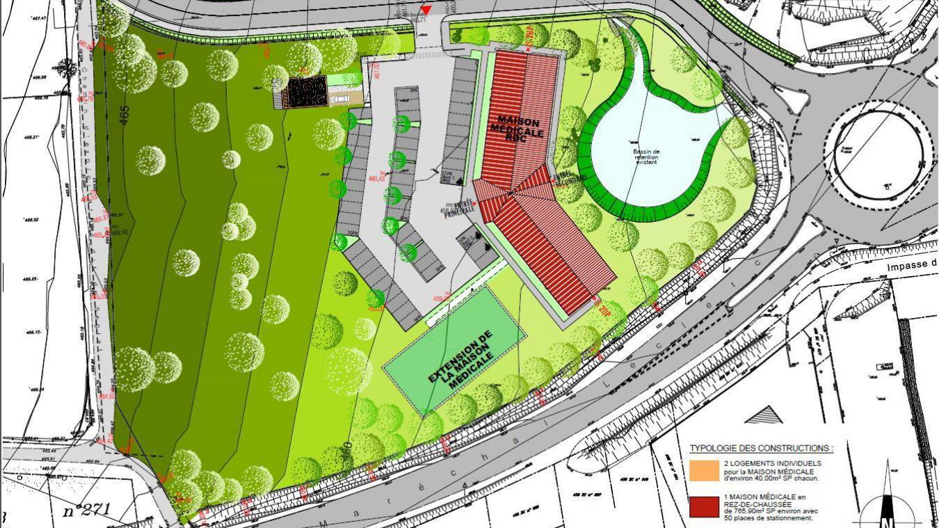 Le terrain de la MSP, d'une surface de 6000 m2, appartient à l'intercommunalité. (Crédit SEV Architectures)