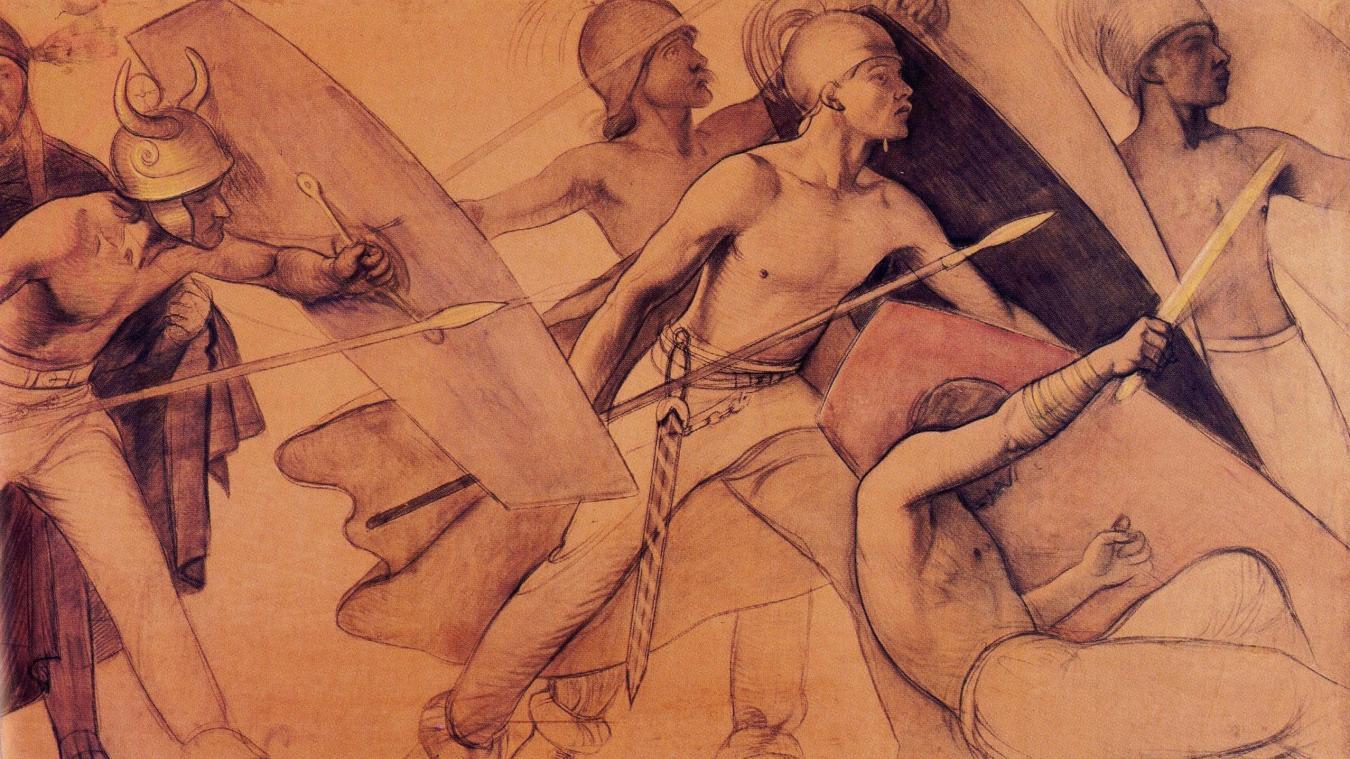 Les Allobroges, fresque réalisée en 1892 par Gustave de Beaumont, peintre du Salève natif de Collonges, pour l'arsenal de Genève.