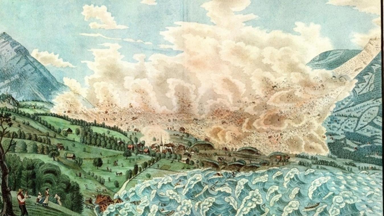 Il n'existe pas de dessin du tsunami du Léman. Mais un peintre, David Alois Schmid, a reproduit celui survenu sur le lac du Lauerz (canton suisse de Schwytz) en 1806.