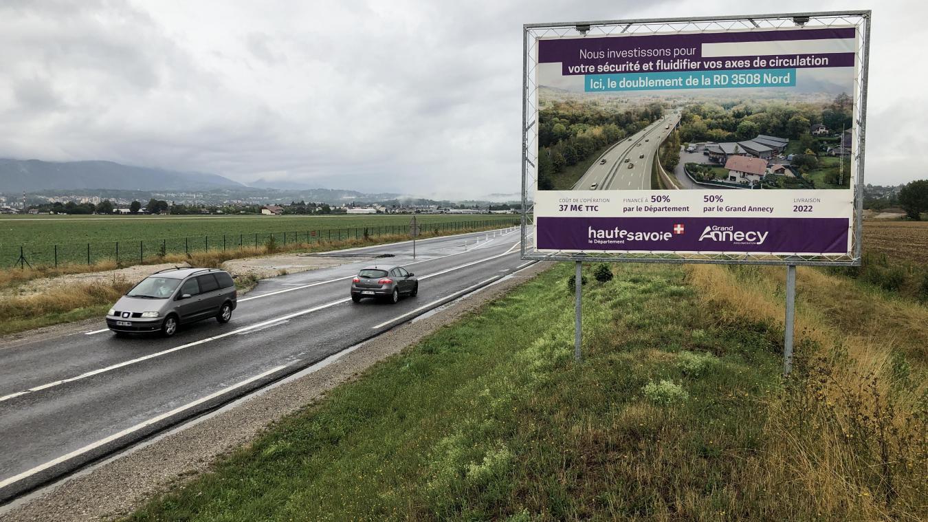 L'élargissement de la RD 3508 le long de l'aéroport représente un enjeu important pour le Département. Photo de droite: Laurent Guette, Dep74.