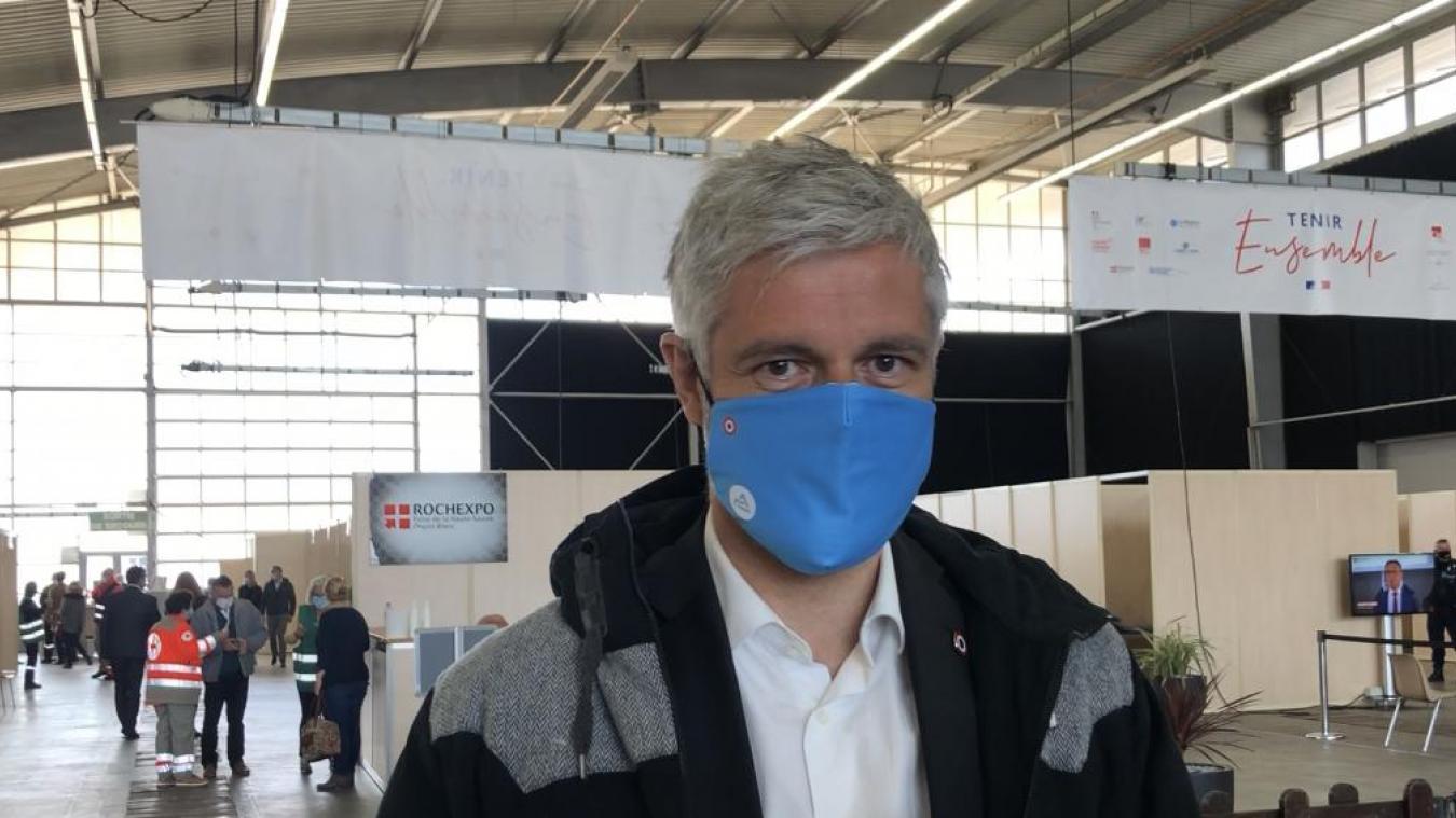 Laurent Wauquiez, le président de la Région Auvergne-Rhône-Alpes, était au vaccinodrome de Rochexpo, à La Roche-sur-Foron, jeudi 8 avril.
