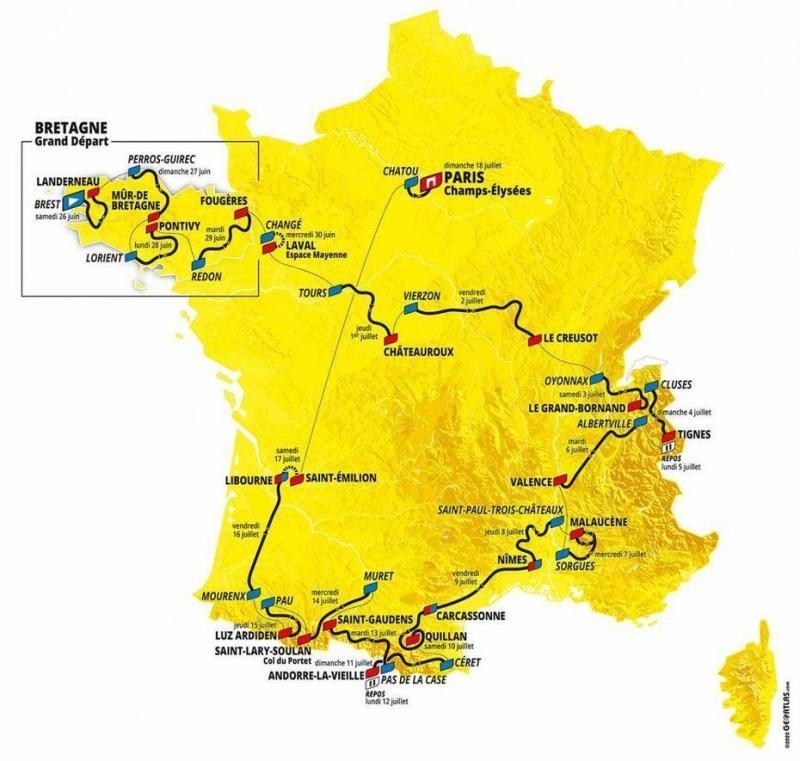 Le département de la Haute-Savoie sera à l'honneur lors de deux étapes : une arrivée au Grand-Bornand et un départ de Cluses.