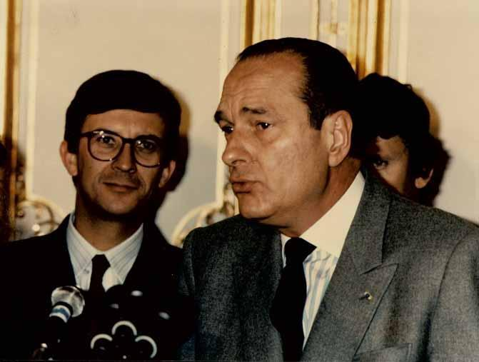 Jacques Chirac et Bernard Bosson, en 1987 à Annecy. (Photo Archives municipales d'Annecy)