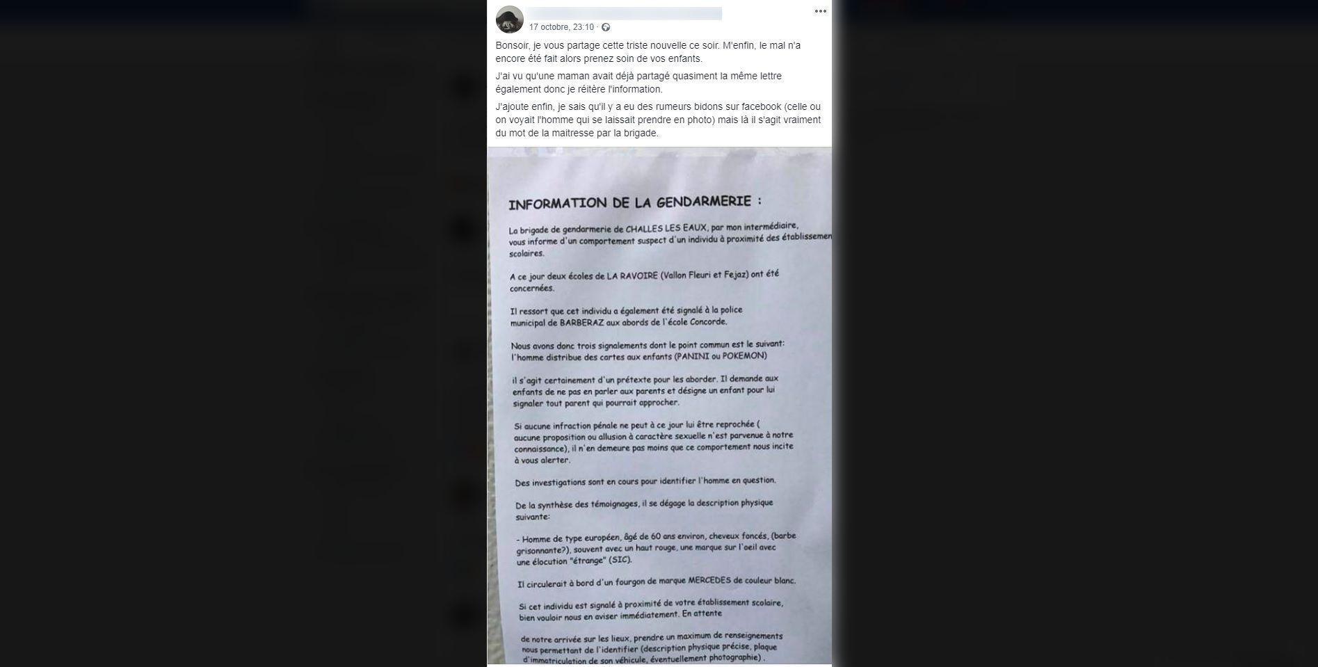 Une internaute a relayé un document de la gendarmerie, le 17 octobre 2019, à propos d'un individu au comportement suspect aperçu devant des écoles de La Ravoire et Barberaz. (capture d'écran Facebook)