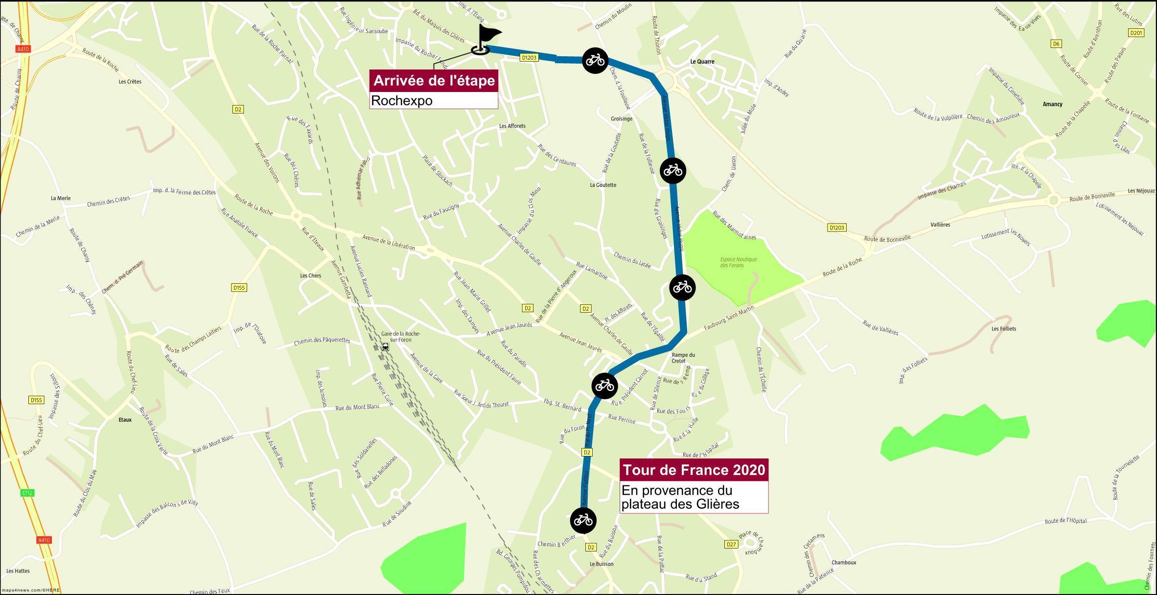 Le Tour de France 2020 fera étape à La Roche-sur-Foron, à hauteur de Rochexpo.