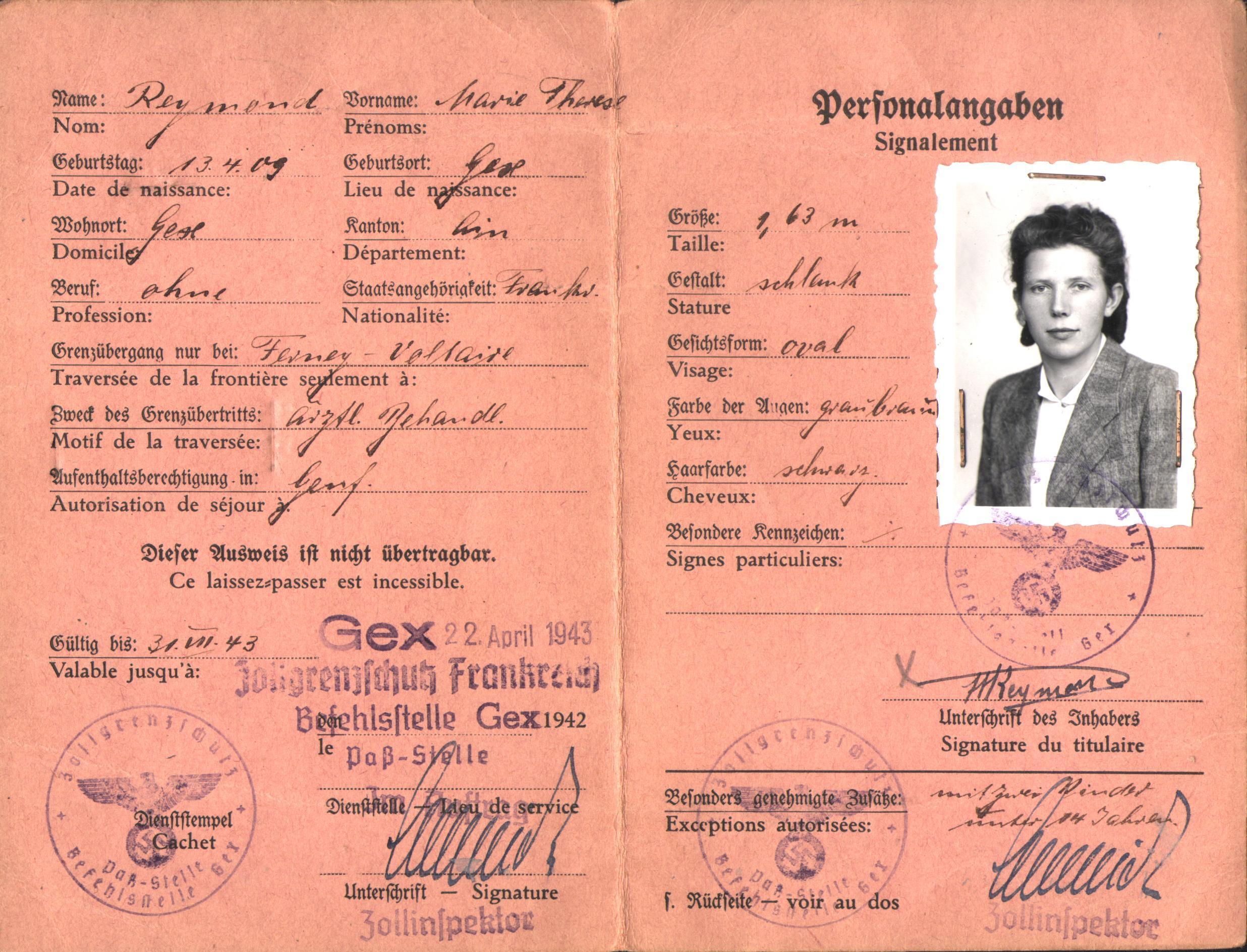 Ausweiss d'une jeune Gexoise, délivré par les autorités allemandes de Gex.
