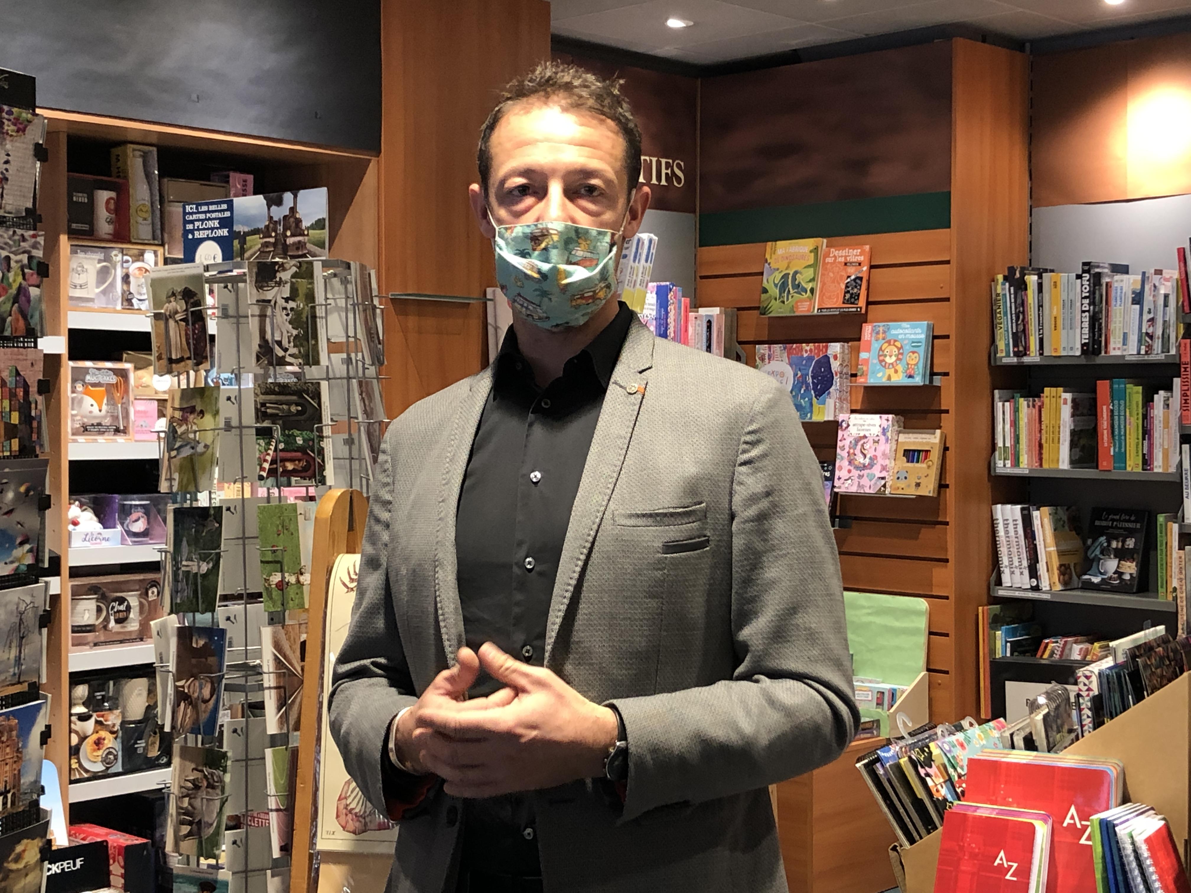 Thierry Daniel, gérant de la librairie Garin à Chambéry.