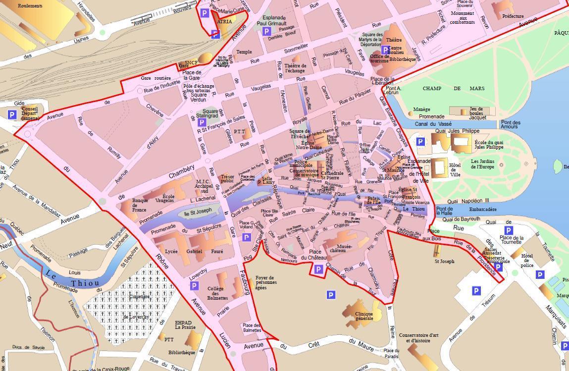 Voici la carte de la zone du port du masque obligatoire à Annecy datant du 15 octobre 2020